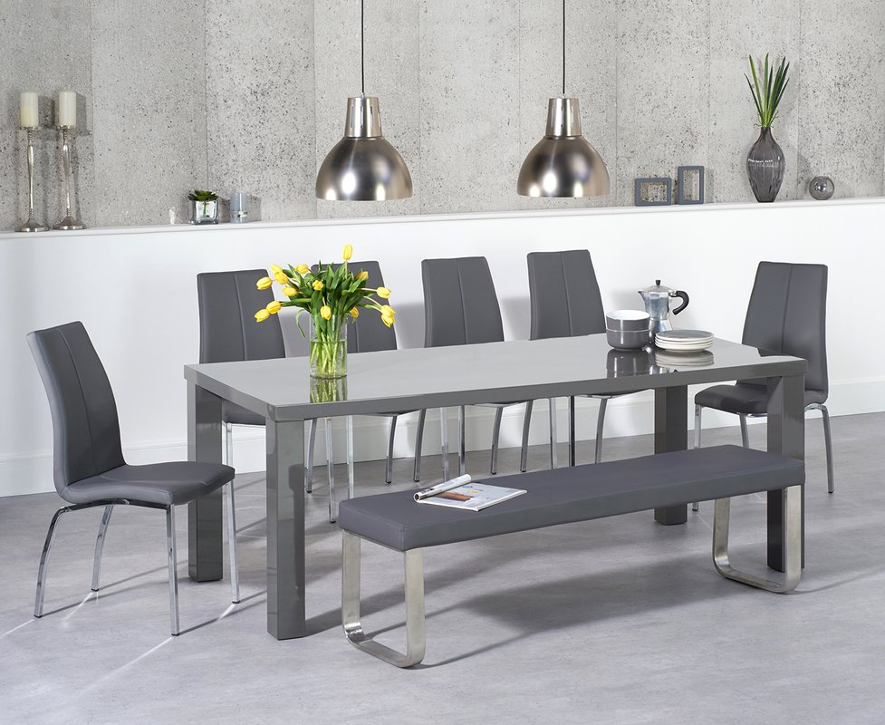 Atlanta 200cm Dark Grey High Gloss Dining Table With Cavello Chairs And Atlanta Large Grey Bench 869 00 Save Up To 34 Off