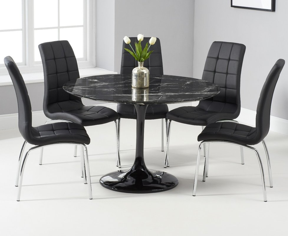 Brighton 120cm Round Black Marble Dining Table With Calgary Dining Chairs 889 00 Save Up To 46 Off