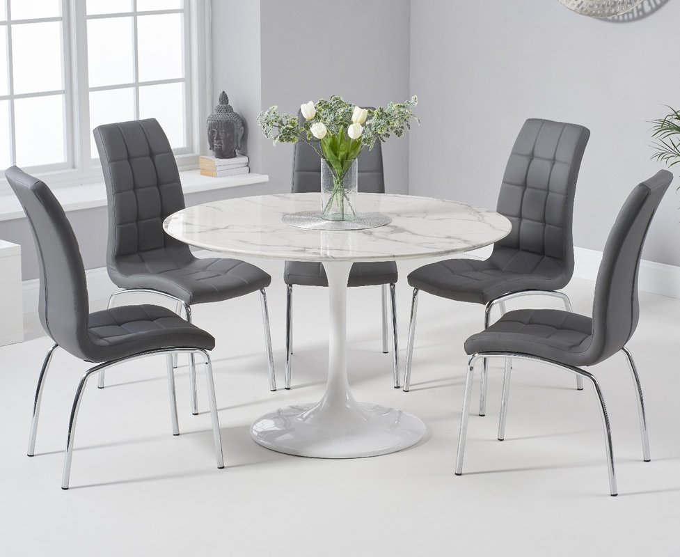 Brighton 120cm Round White Marble Dining Table With Calgary Dining Chairs Brown 2 Chairs 839 00 Save Up To 42 Off