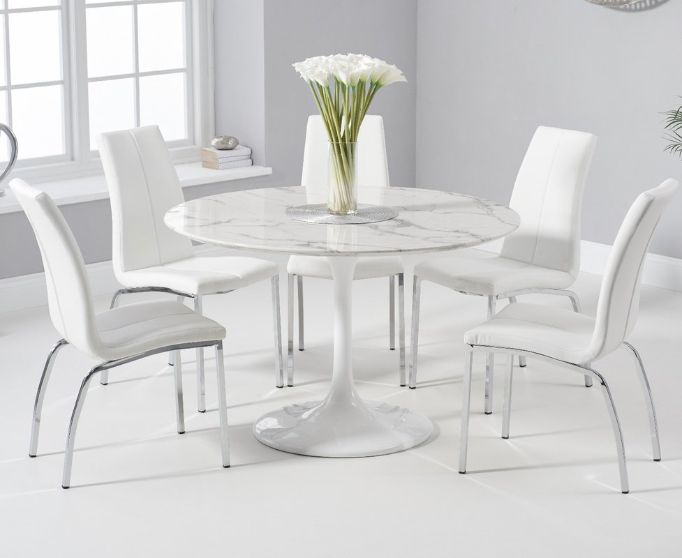 Brighton 120cm Round White Marble Dining Table With Cavello Dining Chairs Cream 2 Chairs 829 00 Save Up To 42 Off