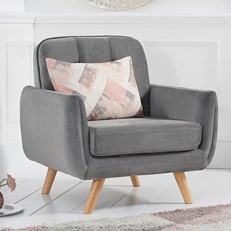 Photo of Camila Grey Velvet Armchair