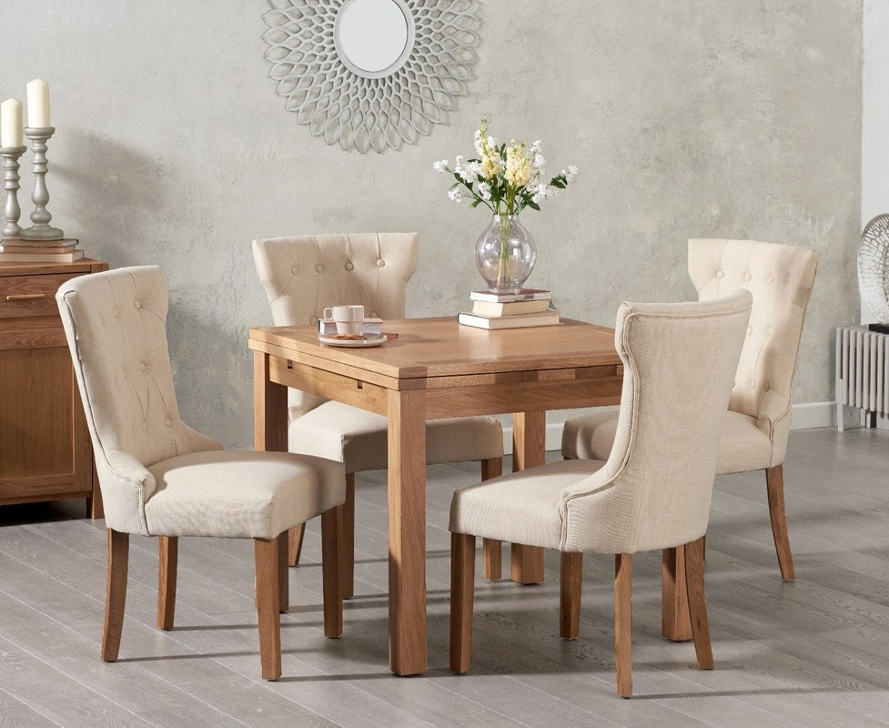 Cheadle 90cm Oak Extending Dining Table With Camille Fabric Chairs Cream 4 Chairs 919 00 Save Up To 26 Off