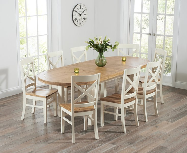 Photo of Chelsea Oak & Cream Extending Dining Table With Cavendish Chairs - Cream- 4 Chairs