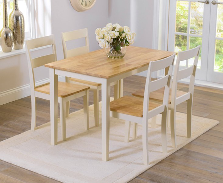 Photo of Chiltern 114cm Oak And Cream Dining Table And Chairs - Cream- 4 Chairs