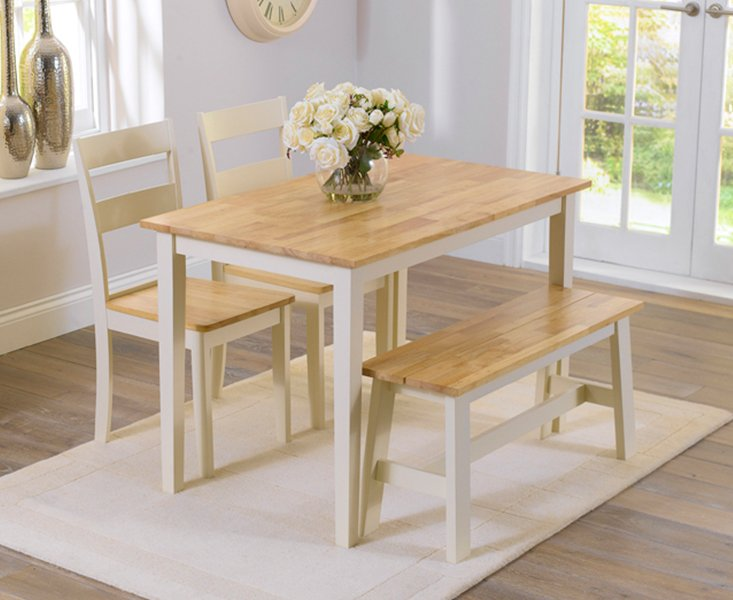 Photo of Chiltern 114cm Oak And Cream Dining Table With Bench And Chairs - Cream- 2 Chairs