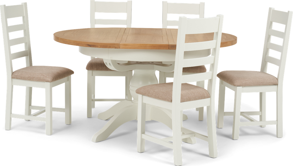 Eden Round Extending Dining Table With Ladder Back Fabric Chairs Oak And White 4 Chairs 1 307 00 Save Up To 12 Off