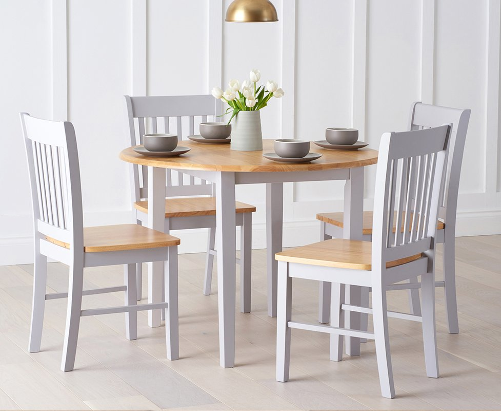 Photo of Genoa Oak And Grey 100cm Drop Leaf Extending Dining Table And Chairs - Oak And Grey- 4 Chairs