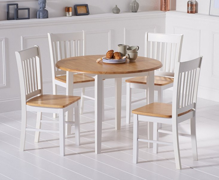 Photo of Genoa Oak And White 100cm Drop Leaf Extending Dining Table And Chairs - Oak And White- 4 Chairs