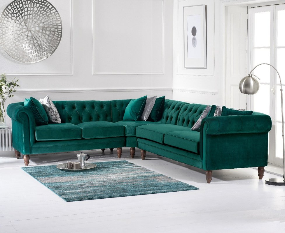 Photo of Limoges Medium Green Velvet Corner Sofa