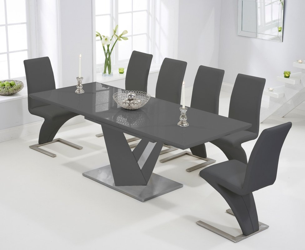 Harmony 160cm Extending Dark Grey High Gloss Dining Table With Hampstead Z Chairs Black 6 Chairs 1 419 00 Save Up To 31 Off