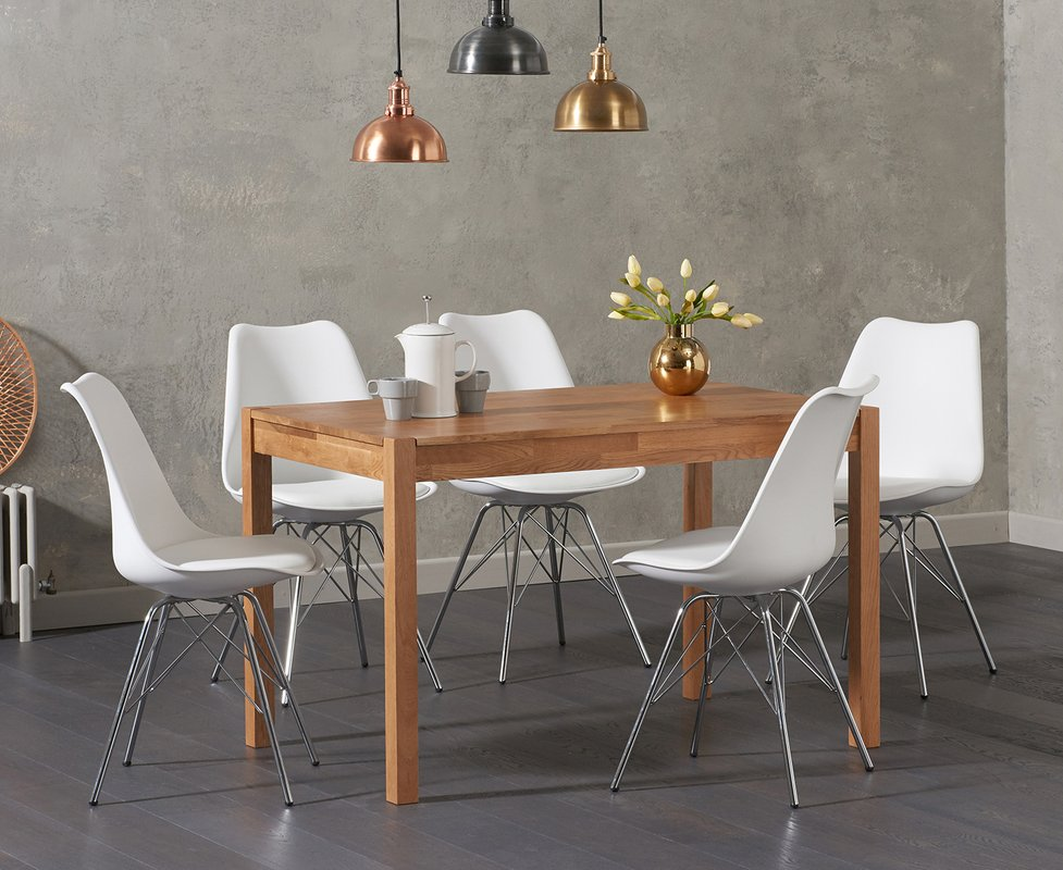 Photo of Oxford 120cm Solid Oak Dining Table With Celine Chrome Leg Chairs