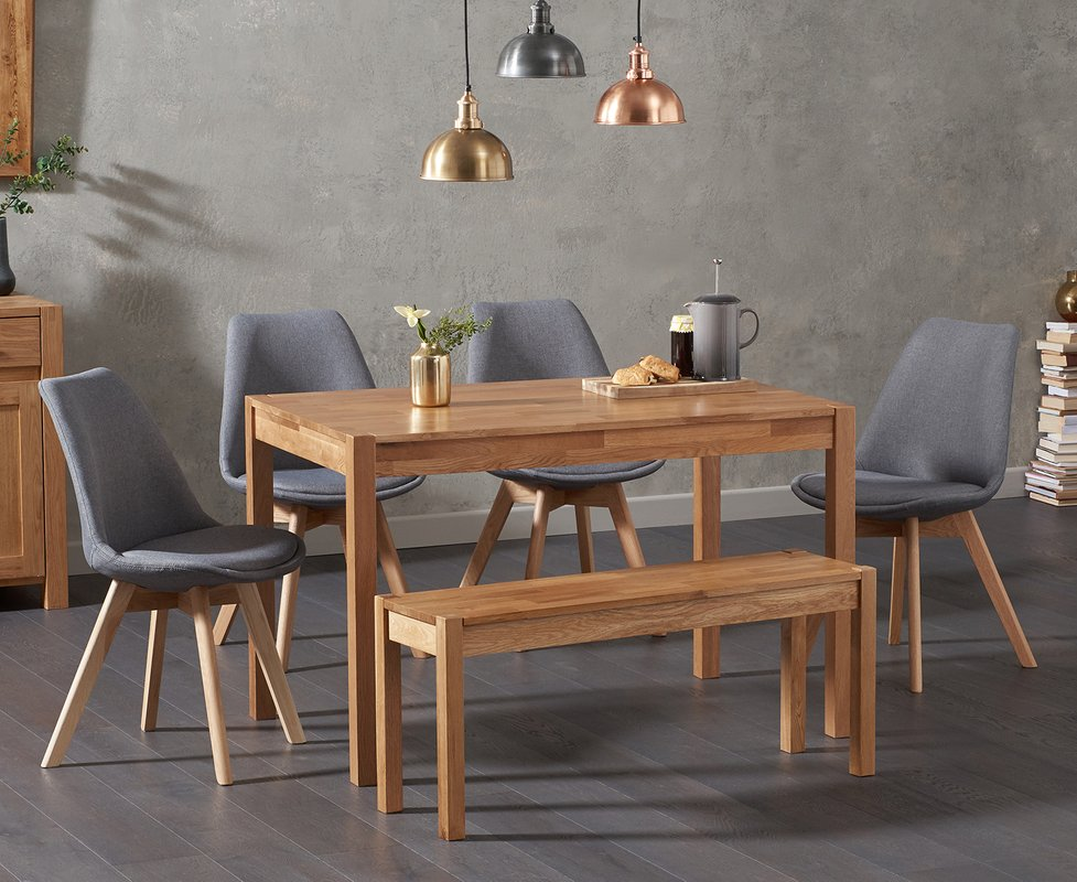 Photo of Oxford 120cm Solid Oak Dining Table With 2 Duke Fabric Chairs And Oxford Bench