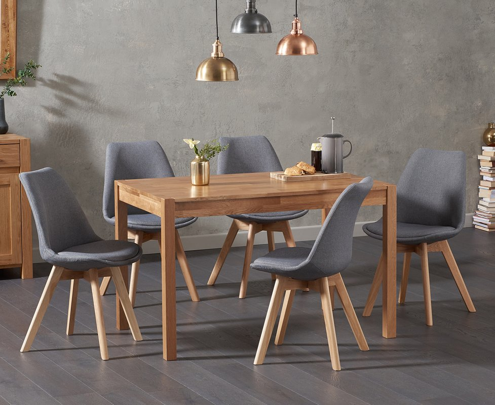 Photo of Oxford 120cm Solid Oak Dining Table With Duke Fabric Chairs