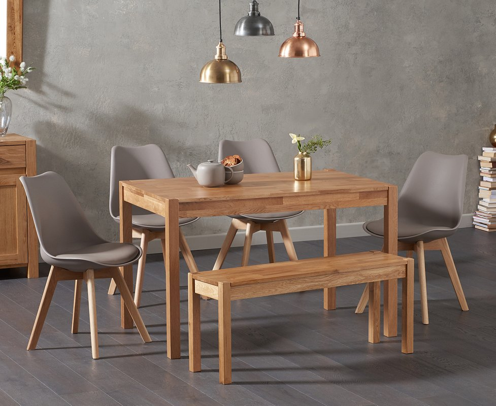 Photo of Oxford 120cm Solid Oak Dining Table With Duke Faux Leather Chairs And Oxford Bench