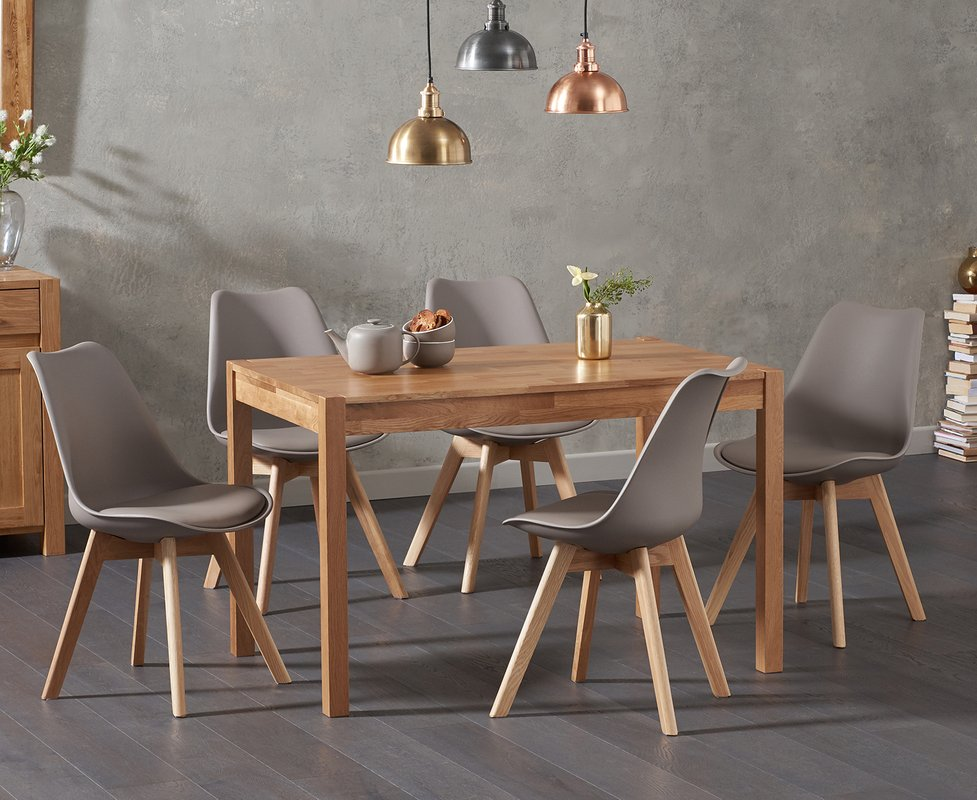 Photo of Oxford 120cm Solid Oak Dining Table With Duke Faux Leather Chairs