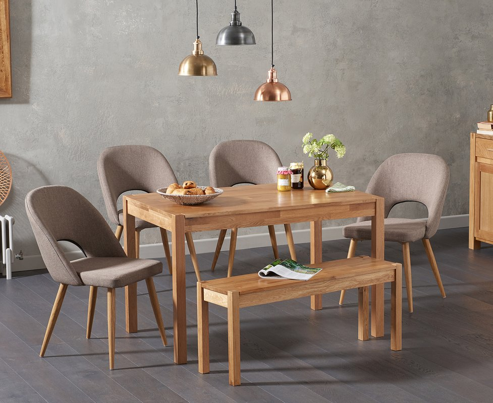Photo of Oxford 120cm Solid Oak Dining Table With Halifax Fabric Chairs And Oxford Bench - Grey- 2 Chairs