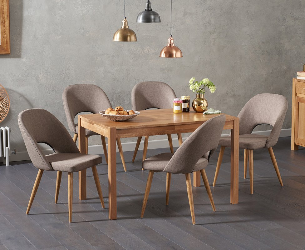 Photo of Oxford 120cm Solid Oak Dining Table With Halifax Fabric Chairs - Grey- 4 Chairs