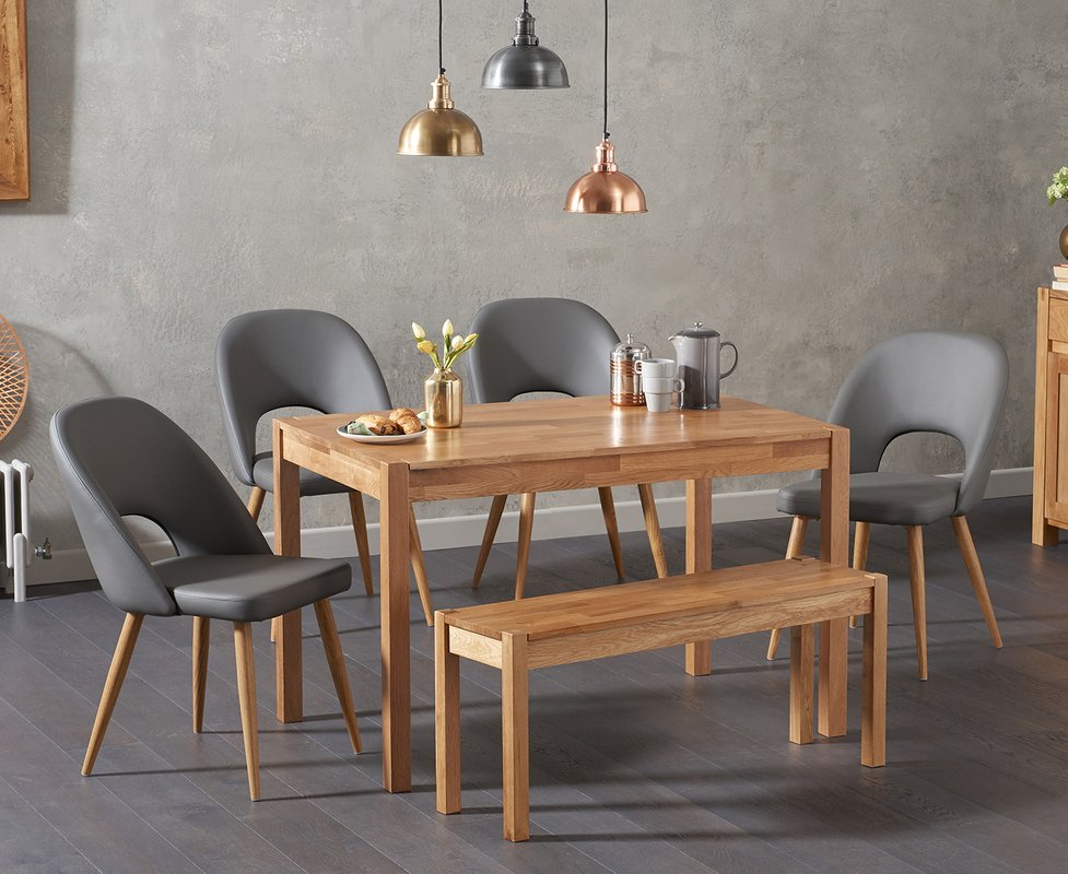Photo of Oxford 120cm Solid Oak Dining Table With Halifax Faux Leather Chairs With Oxford Bench - Grey- 2 Chairs
