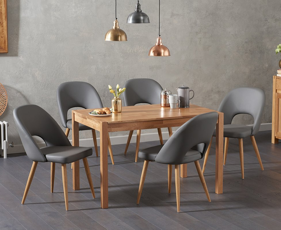 Photo of Oxford 120cm Solid Oak Dining Table With Halifax Faux Leather Chairs - Grey- 4 Chairs