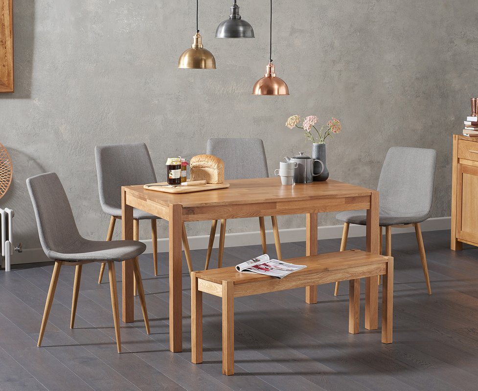 Photo of Oxford 120cm Solid Oak Dining Table With Helsinki Fabric Chairs With Oxford Bench - Grey- 2 Chairs