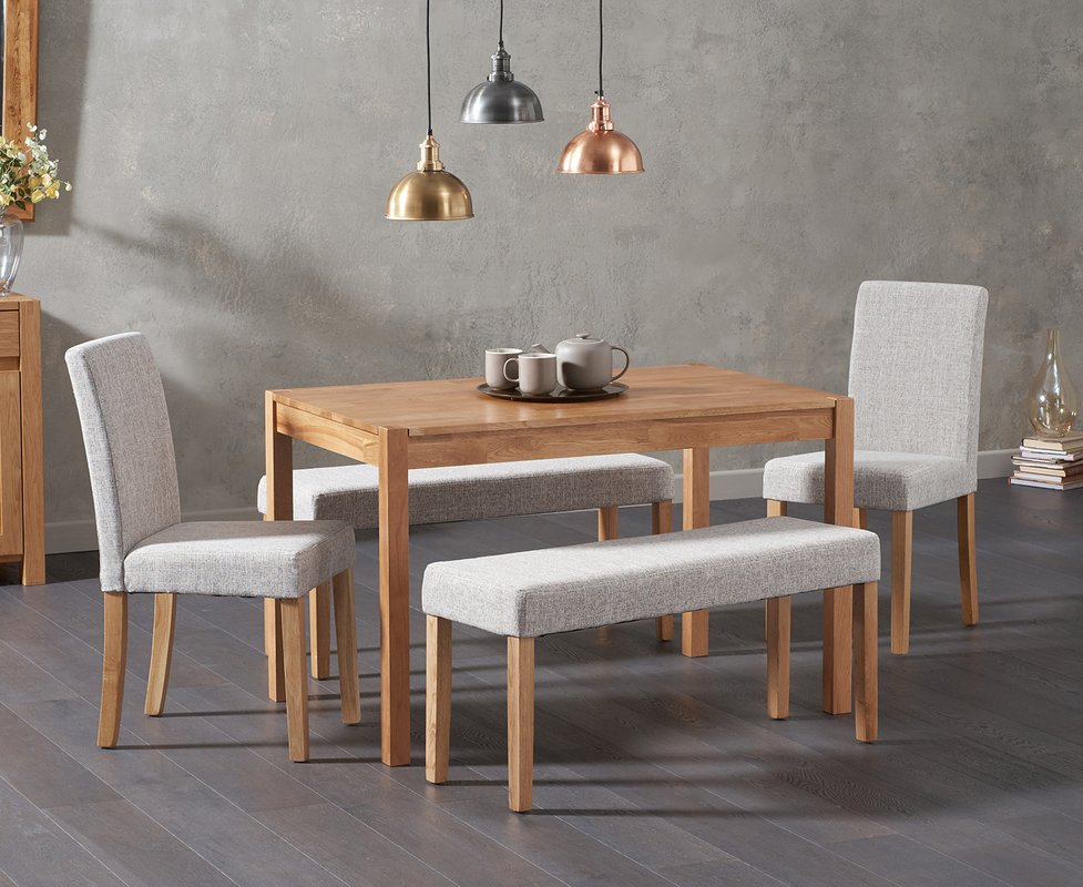 Photo of Oxford 120cm Solid Oak Dining Table With Mia Grey Benches And Mia Chairs