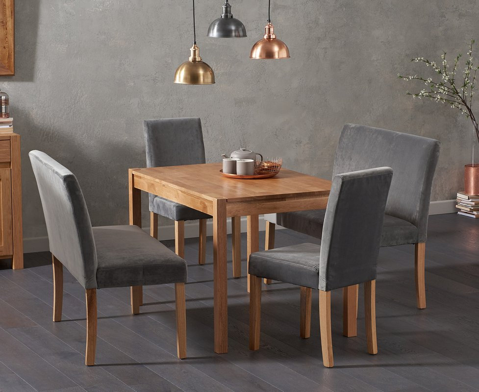 Photo of Oxford 120cm Solid Oak Dining Table With Mia Grey Velvet Benches With Backs And Mia Velvet Chairs - Grey- 2 Chairs