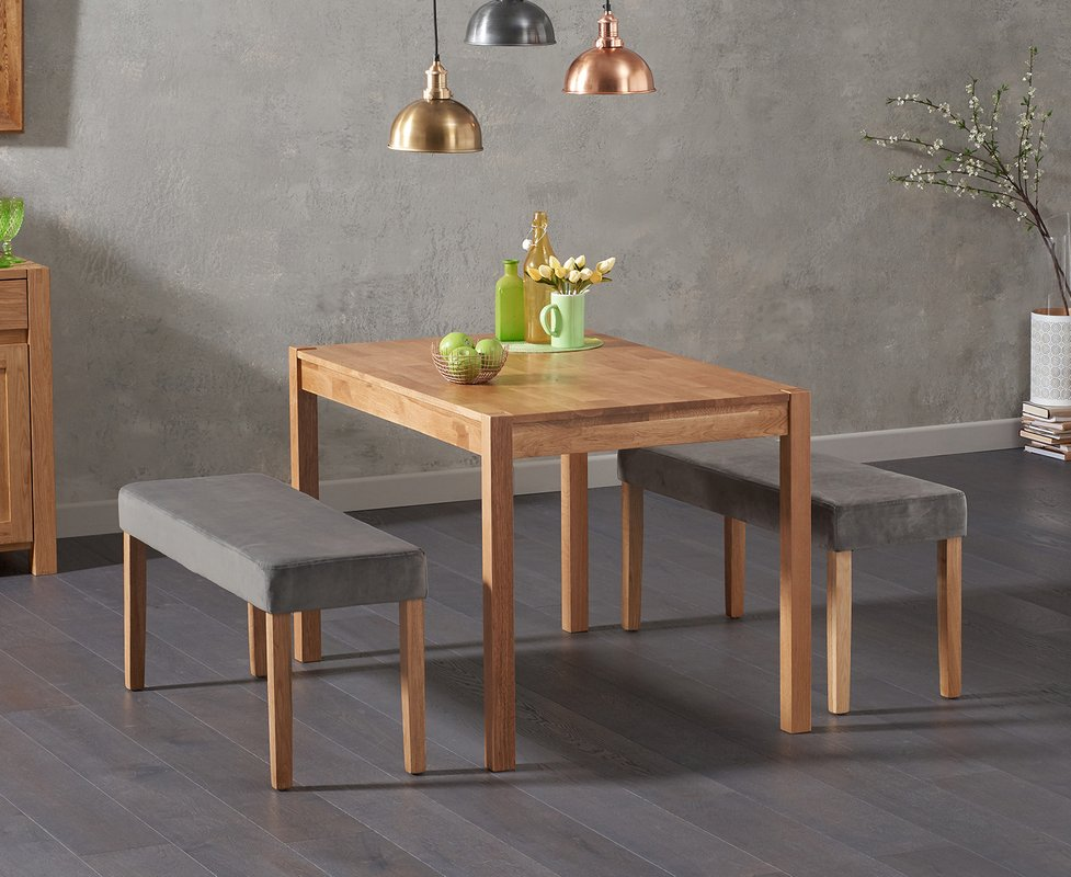 Photo of Oxford 120cm Solid Oak Dining Table With Mia Grey Velvet Benches