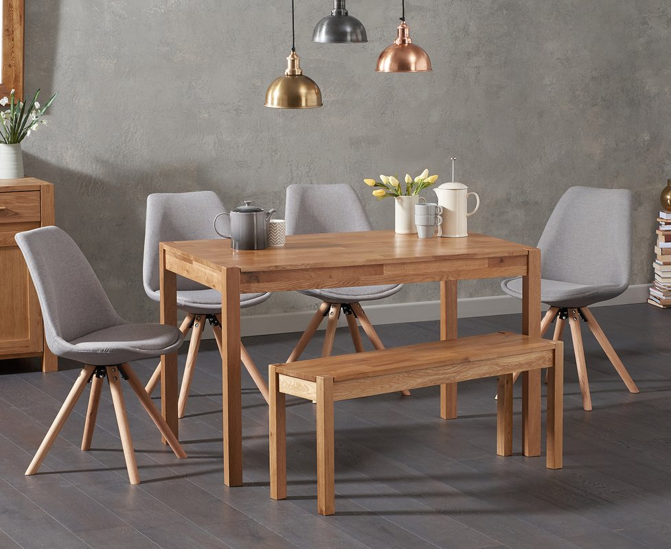 Photo of Oxford 120cm Solid Oak Dining Table With Oscar Fabric Round Leg Chairs And Oxford Bench