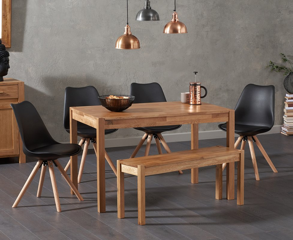 Photo of Oxford 120cm Solid Oak Dining Table With Oscar Faux Leather Round Leg Chairs And Oxford Bench