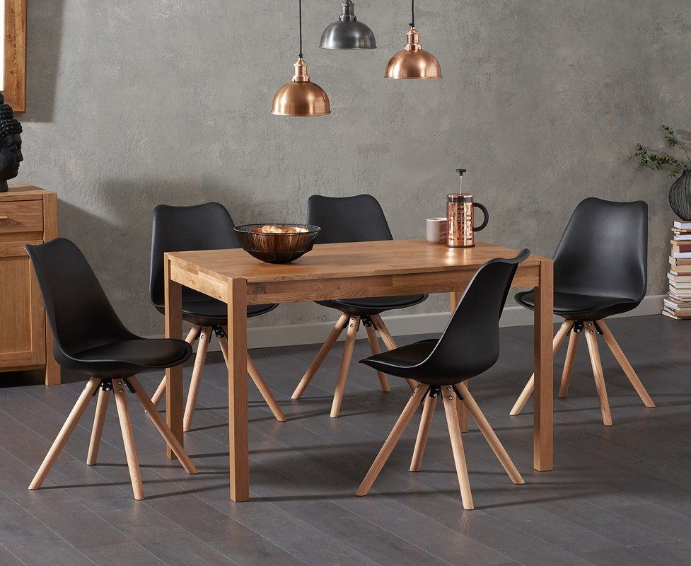 Photo of Oxford 120cm Solid Oak Dining Table With Oscar Faux Leather Round Leg Chairs