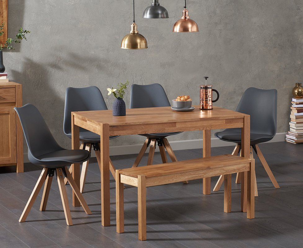 Photo of Oxford 120cm Solid Oak Dining Table With Oscar Square Leg Faux Leather Chairs And Oxford Bench - Mink- 2 Chairs