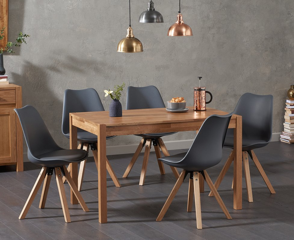 Photo of Oxford 120cm Solid Oak Dining Table With Oscar Square Leg Faux Leather Chairs