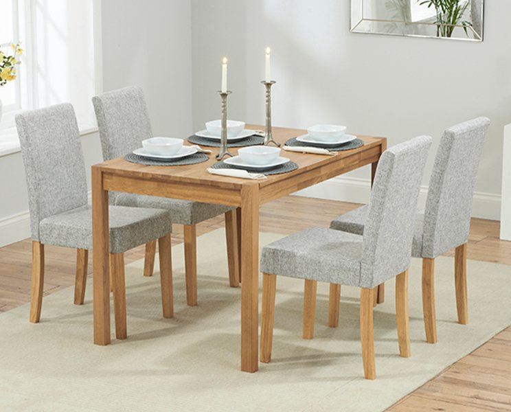Photo of Oxford 120cm Solid Oak Dining Table With Mia Fabric Chairs