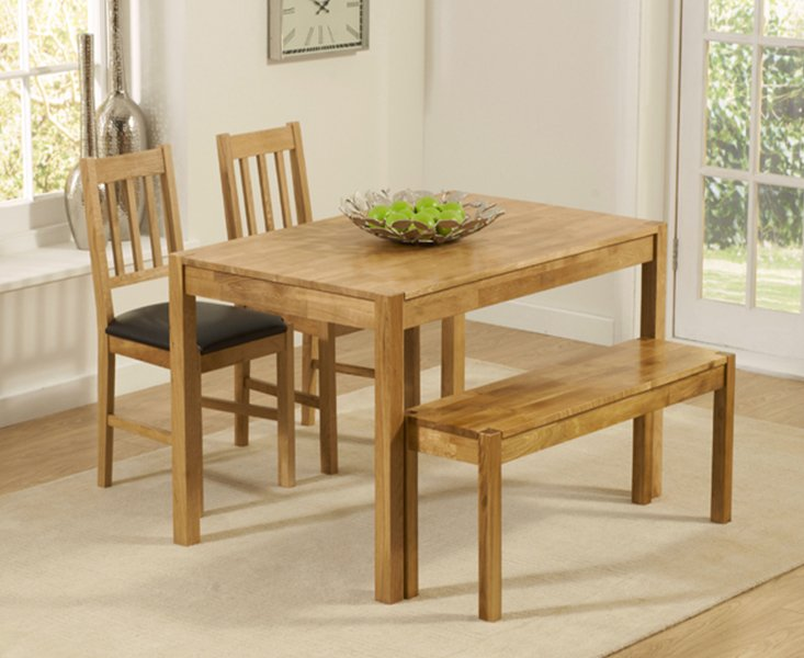 Photo of Oxford 120cm Solid Oak Dining Table With Benches And Oxford Chairs