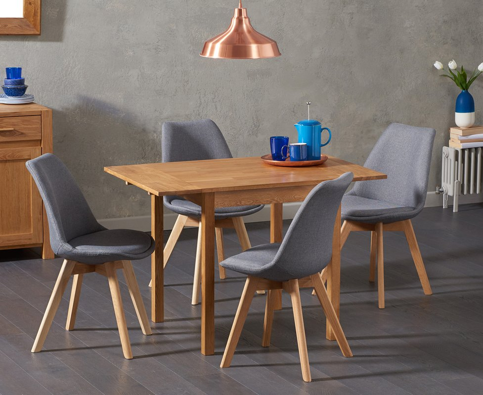 Photo of Oxford 70cm Solid Oak Extending Dining Table With Duke Fabric Chairs