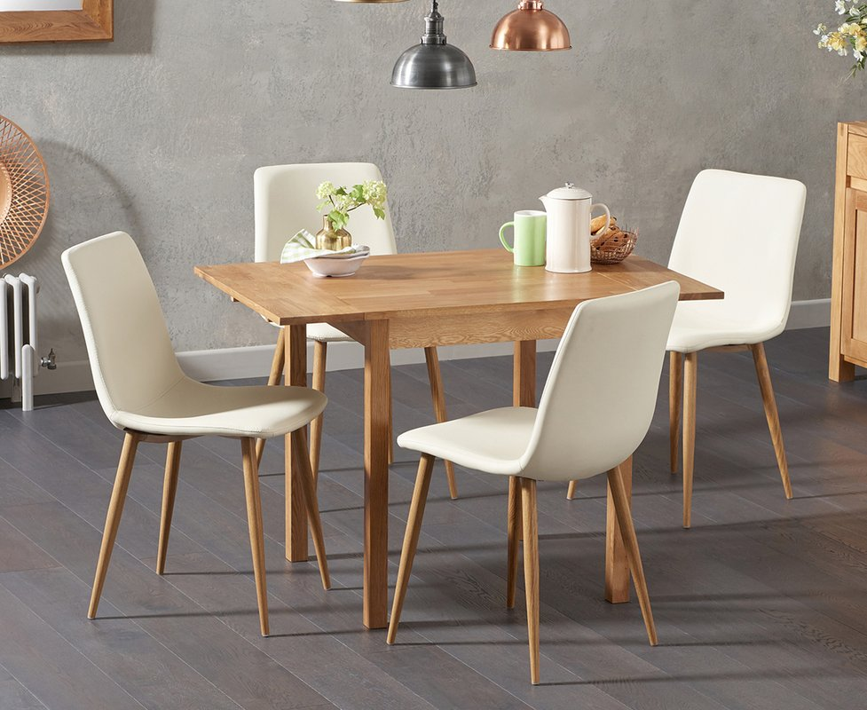 Photo of Oxford 70cm Solid Oak Extending Dining Table With Helsinki Faux Leather Chairs