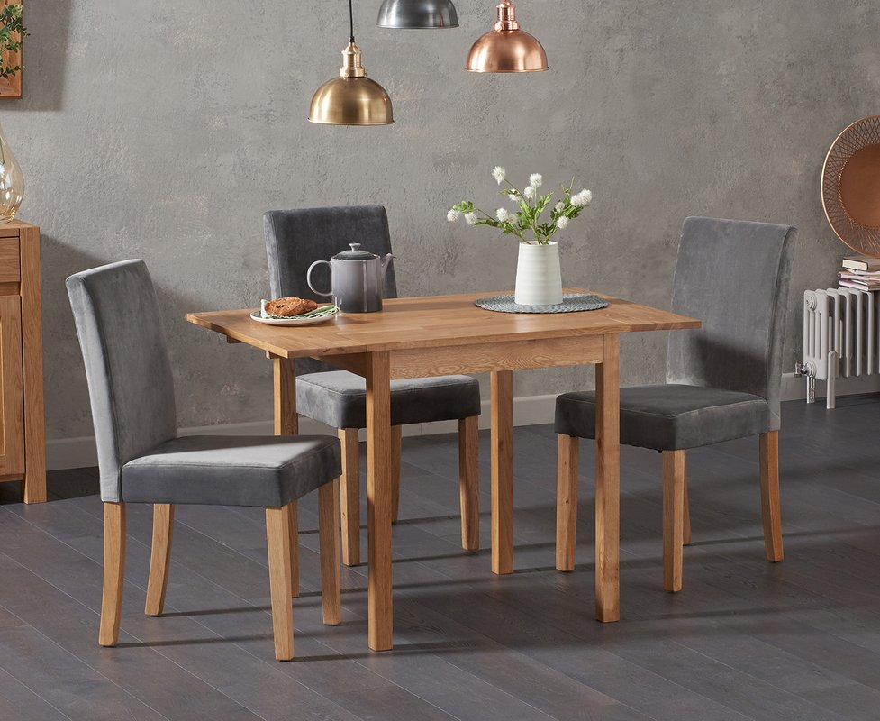 Photo of Oxford 70cm Solid Oak Extending Dining Table With Mia Plush Grey Chairs - Grey- 2 Chairs