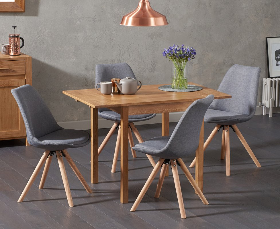 Photo of Oxford 70cm Solid Oak Extending Dining Table With Oscar Round Leg Fabric Chairs