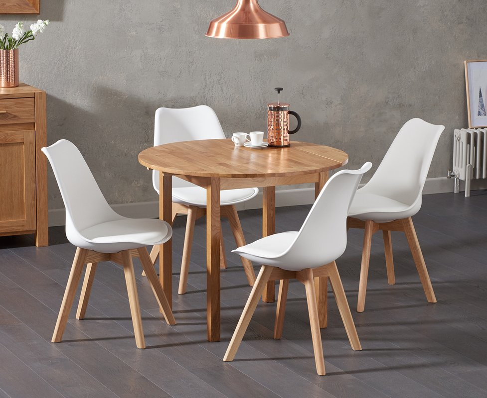 Photo of Oxford 90cm Solid Oak Drop Leaf Extending Dining Table With Duke Faux Leather Chairs