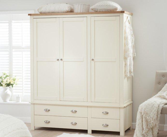 Photo of Somerset Oak And Cream 3 Door 4 Drawer Wardrobe