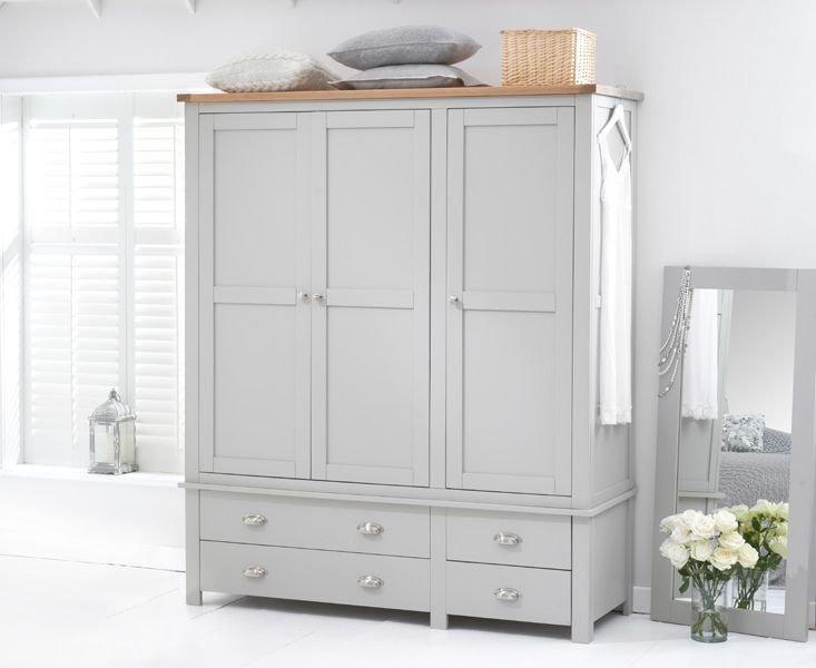 Photo of Somerset Oak And Grey 3 Door 4 Drawer Wardrobe