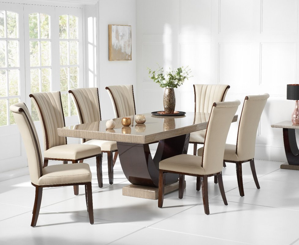 Photo of Raphael 200cm Brown Pedestal Marble Dining Table With Alpine Chairs