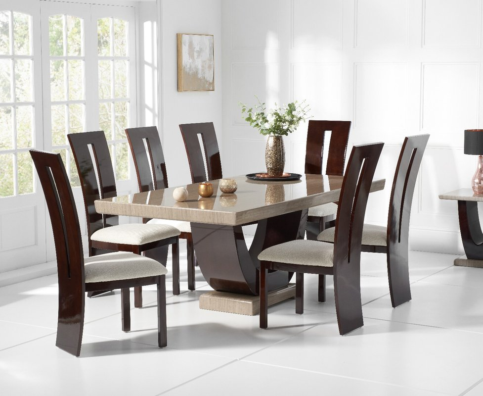 Photo of Raphael 200cm Brown Pedestal Marble Dining Table With Verbier Chairs