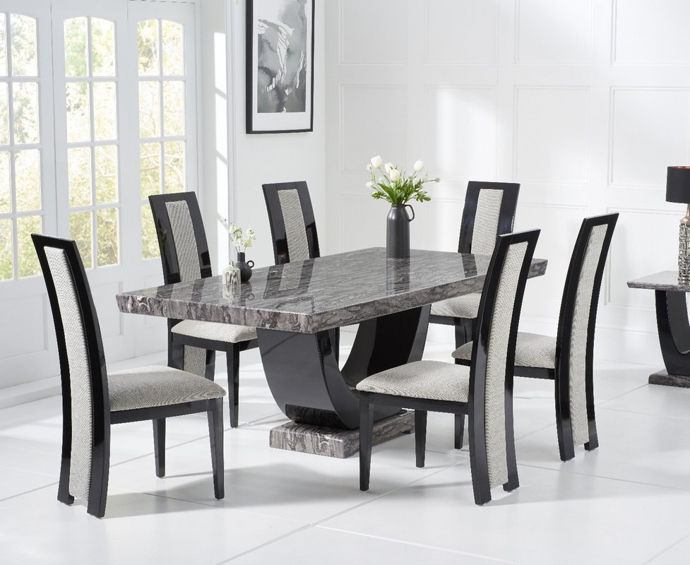 Photo of Raphael 170cm Dark Grey Pedestal Marble Dining Table With 4 Raphael Chairs
