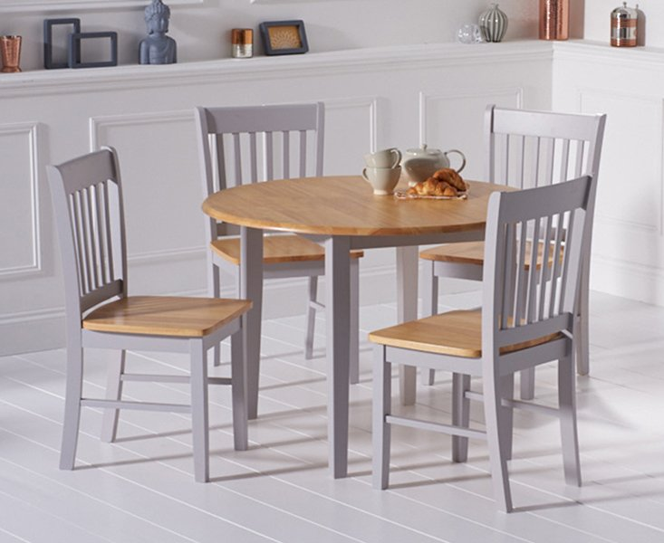 Photo of Amalfi Oak And Grey Extending Dining Table With Chairs - Oak And Grey- 4 Chairs