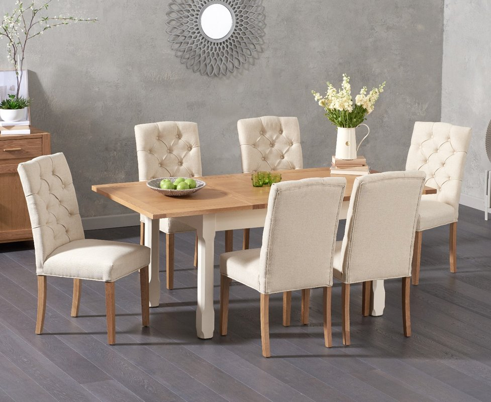 Photo of Somerset 130cm Oak And Cream Extending Dining Table With Claudia Cream Fabric Chairs - Cream- 4 Chairs