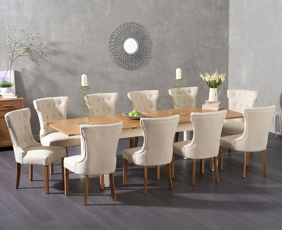 Photo of Somerset 180cm Oak And Cream Extending Dining Table With Camille Chairs - Cream- 6 Chairs