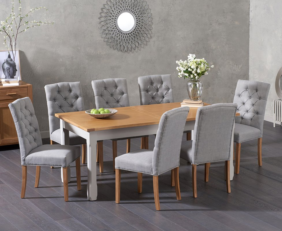Photo of Somerset 180cm Oak And Grey Extending Dining Table With Claudia Grey Fabric Chairs - Grey- 6 Chairs