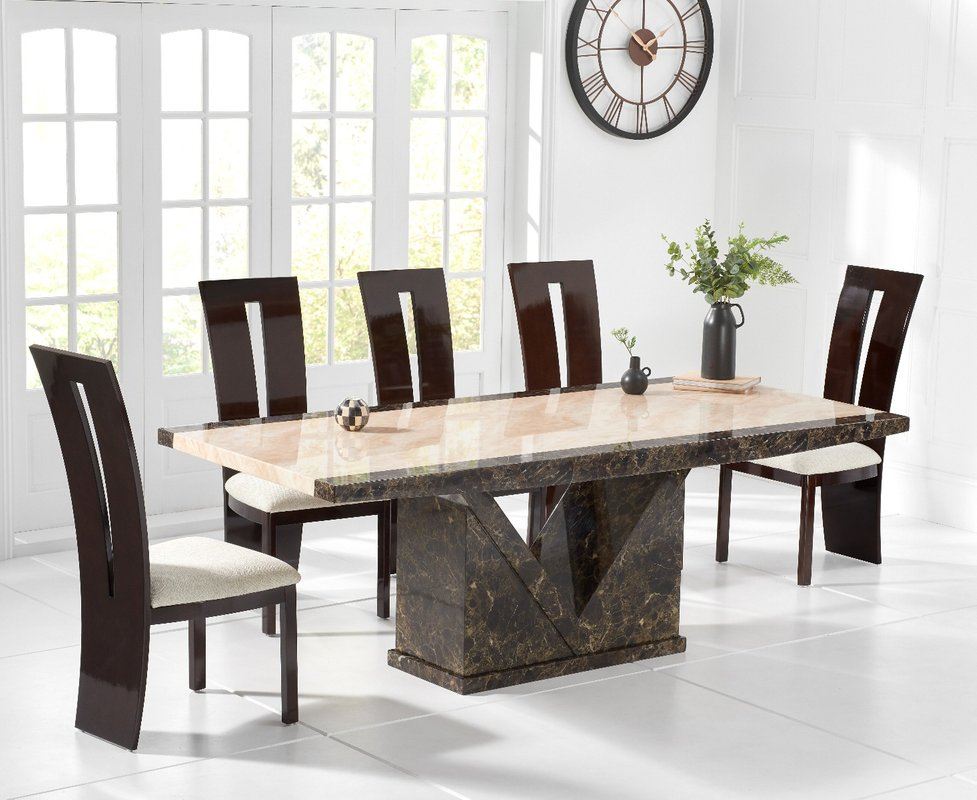 Photo of Tenore 180cm Marble Effect Dining Table With Verbier Chairs