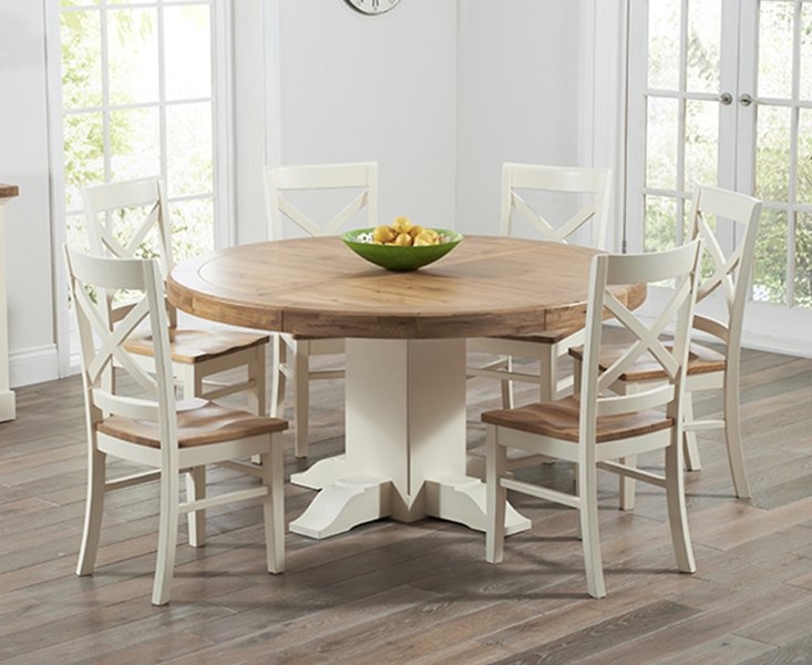 Photo of Torino Oak & Cream Extending Pedestal Dining Table With Cavendish Chairs - Cream- 4 Chairs